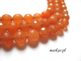 Jadeit orange fasetka kula  8 mm sznur
