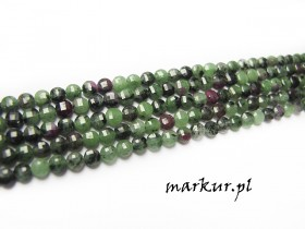 Ruby zoisite fasetka moneta  4 mm sznur